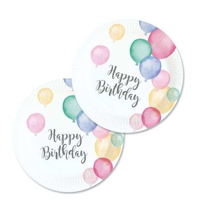8 piatti 18 cm Happy Birthday palloncini pastello