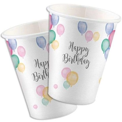 8 bicchieri Happy Birthday palloncini pastello 250ml