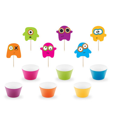 Cupcake kit 12 pezzi Monster-Party