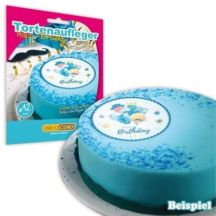 Tortenauflage, Happy Birthday blau, Esspapier, 12cm