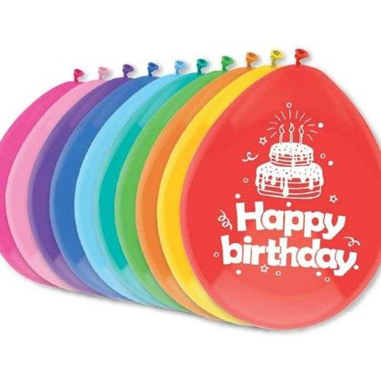"10 Ballons  ""Happy Birthday"" 30cm"