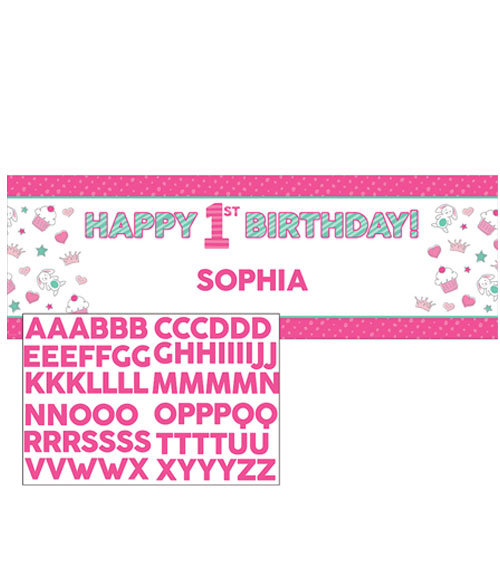 Banner personalizzabile 152x50,8 cm Happy One - pink