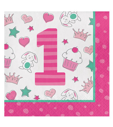 16 servietten Happy One - pink