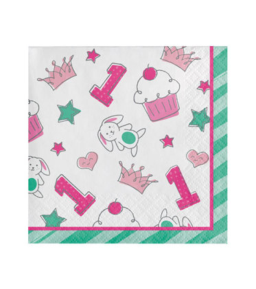 16 servietten 25x25 cm Happy One - pink