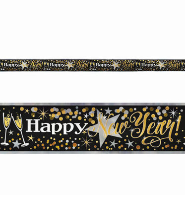folienbanner 3,65m happy new year nero e oro