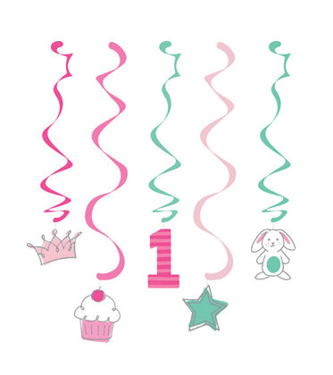 5 spiral girlande Happy One - pink