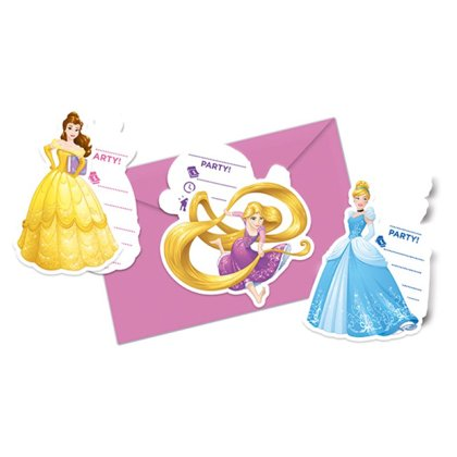 6 inviti Disney Princess con bustine 9x14cm