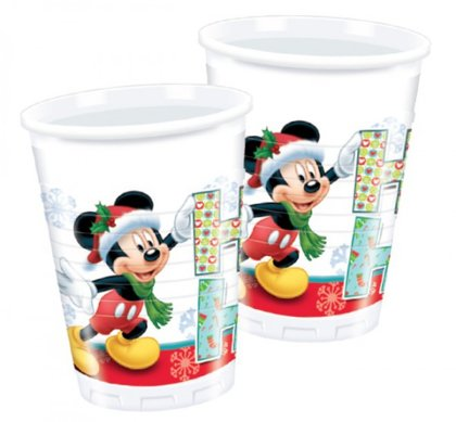 8 bicchieri natale disney con mickey e minnie mouse