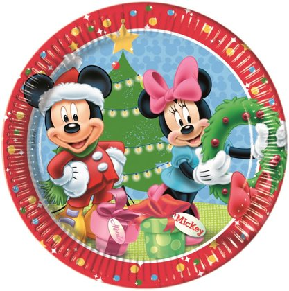 8 piatti 23 cm Natale disney con mickey. e minnie mouse