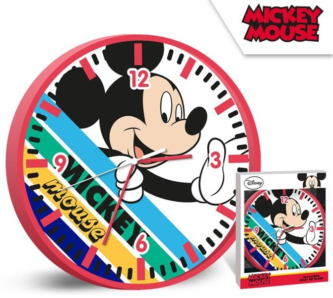 Wanduhr 25 cm Mickey Mouse rot