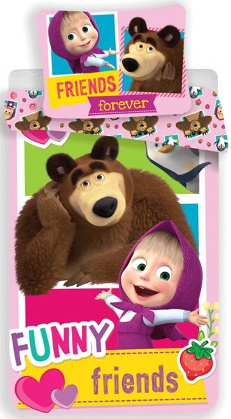Masha and the Bear funny Kind Bettwäsche 140×200 cm, 70×90 cm  100% baumwolle