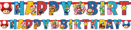 Girlanda happy bday super mario 1,80m
